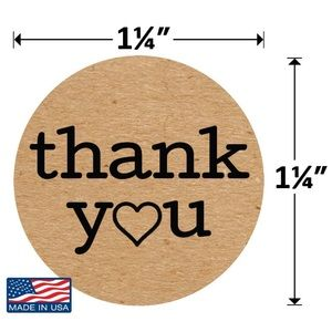 100 Kraft Paper Circle Thank You Stickers